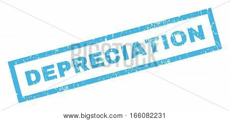 Depreciation text rubber seal stamp watermark. Tag inside rectangular shape with grunge design and dust texture. Inclined vector blue ink emblem on a white background.