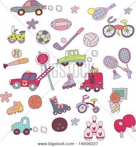 cute sports icons set