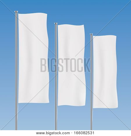 White banner flag vector templates. Perspective row of vertical flags on a blue sky background. Advertising flags realistic mockup.