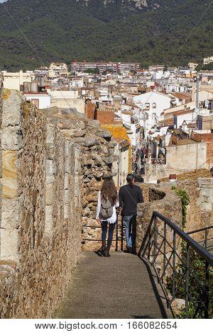TOSSA DEL MAR, CATALONIA, SPAIN - OCTOBER 13, 2016: historic center of Tossa del Mar - medieval walls, Catalonia, Spain.