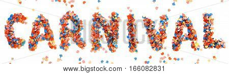 Carnival colorful confetti letter on white background