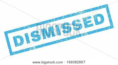 Dismissed text rubber seal stamp watermark. Tag inside rectangular shape with grunge design and unclean texture. Inclined vector blue ink sign on a white background.