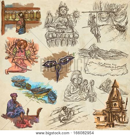 Travel NEPAL. Pictures of Life.Full sized hand drawing collection. Hand drawn illustrations. Pack of freehand sketches on old paper. Traveling around Federal Democratic Republic of Nepal.