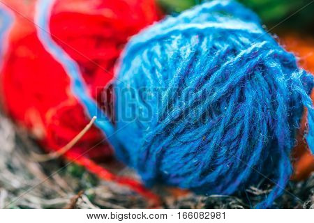 Blue and red wool clews in bird nest. Macro view