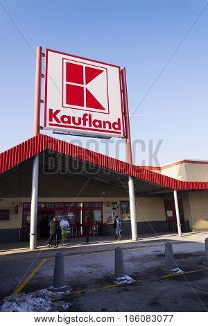 Prague, Czech Republic - January 21: Kaufland Logo On Hypermarket From German Chain, Part Of Schwart