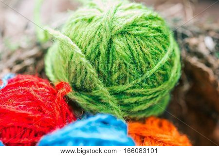 Colorful wool balls in bird nest. Macro view