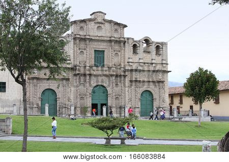 Cajamarca Peru - January 20 2017: View of the Cathedral Church of Cajamarca with people in Cajamarca Peru on January 20 2017