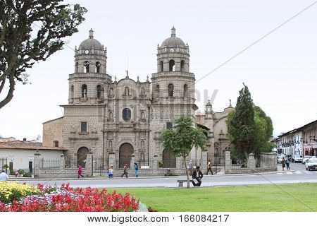 Cajamarca Peru - January 20 2017: View of the Convento of San Francisco of Cajamarca with people in Cajamarca Peru on January 20 2017