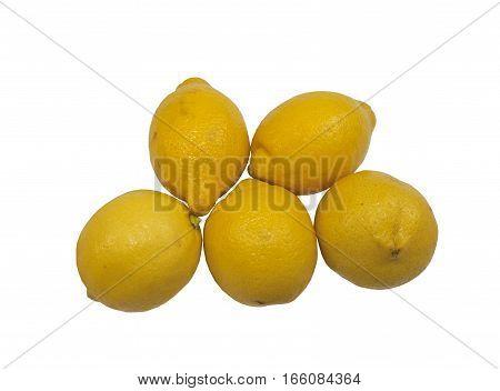 Five fresh organic juicy lemons on a white background