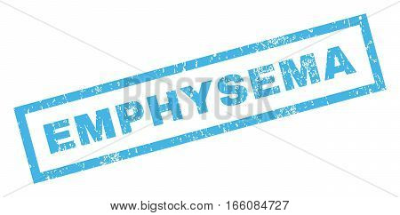 Emphysema text rubber seal stamp watermark. Caption inside rectangular banner with grunge design and unclean texture. Inclined vector blue ink sign on a white background.