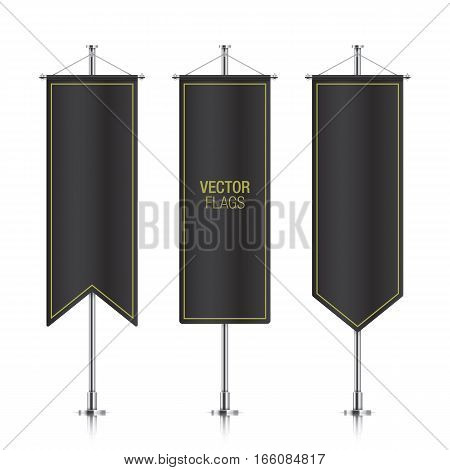 Black elegant vertical flag mockups, isolated on a white background. Set of vector banner flag templates hanging on a silver metallic poles.