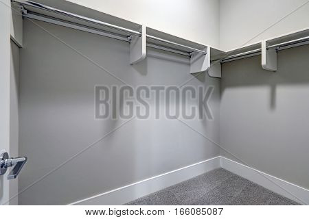 Empty Walk-in Closet With Pale Gray Walls And Carpet Floor.