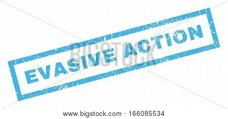 Evasive Action text rubber seal stamp watermark. Tag inside rectangular banner with grunge design and dust texture. Inclined vector blue ink sign on a white background.