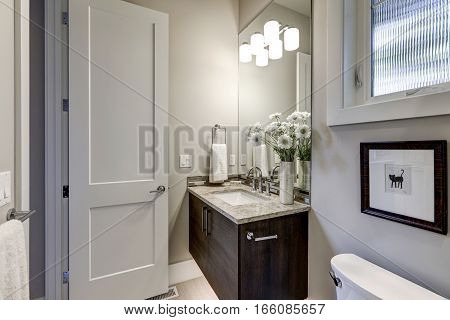 Light Gray Bathroom Interior In Luxury Home