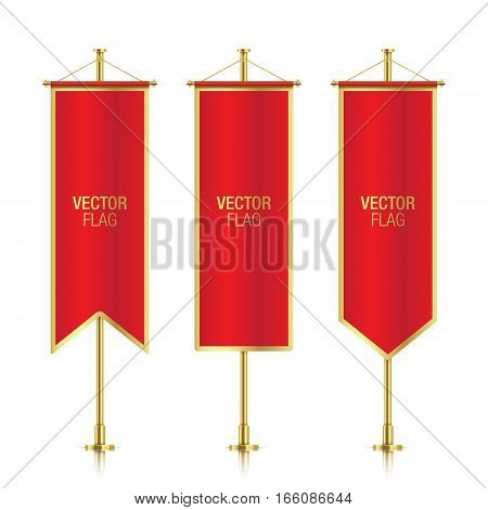 Red elegant vertical flag mockups with golden strokes, isolated on a white background. Set of red vector banner flag templates hanging on a golden poles.
