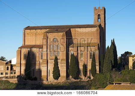 Basilica Cateriniana of San Domenico (XIII century) in the ancient town of Siena. Toscana (Tuscany) Italy Europe