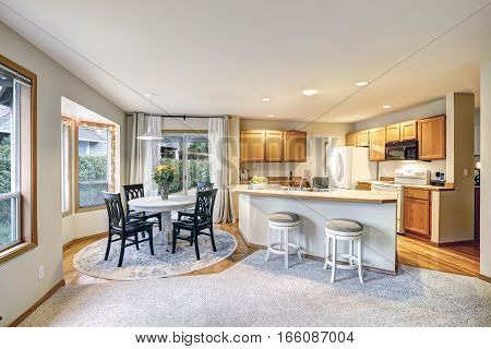 Traditional Dining And Kitchen Room Design In Neutrals Colors