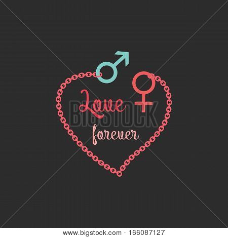 Romantic love poster. Red heart silhouette with mail femail couple symbol. Freehand drawn fancy cartoon style. Vector vintage greeting card template for Valentine day, lovers weeding banner background
