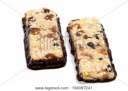 Muesli Cereal Bars. Nutri Oat Protein Bars isolated on white background