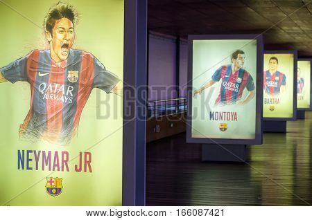 Barcelona, Spain - September 22, 2014: Hand-drawn footballers posters at the museum FC Barcelona. Neymar Junior. Nou Camp, Barcelona, Catalonia, Spain