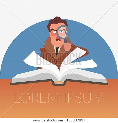Book with the detective. Detective with a magnifying glass vector illustration