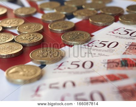 Pound Coins And Notes, United Kingdom Over Flag