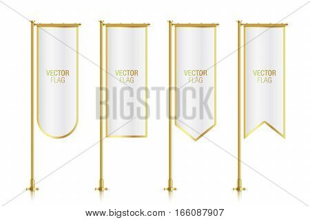 White elegant vertical flag mockups with golden strokes, isolated on background. Set of white vector banner flag templates hanging on a golden poles.