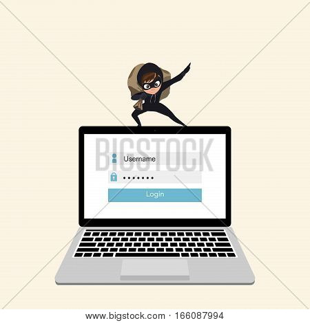 Hacker steals data from a laptop. Concept hacking computer.