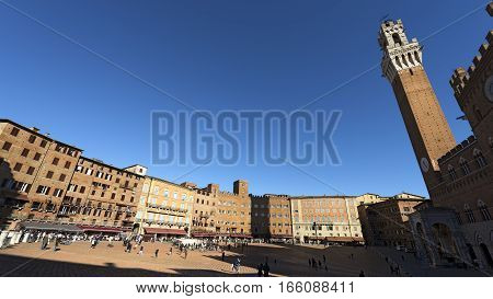 Ancient and medieval Piazza del Campo (Campo square) in the downtown of Siena Toscana (Tuscany) Italy
