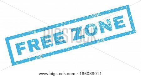 Free Zone text rubber seal stamp watermark. Tag inside rectangular shape with grunge design and dust texture. Inclined vector blue ink emblem on a white background.