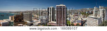 Panorama of the city of Valparaiso Chile