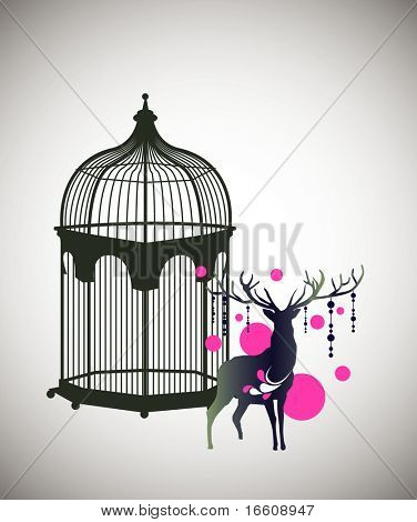 reindeer and decorative birdcage