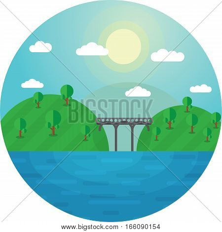 Round vector illustration landscape bridge between two hills and the lake shores.