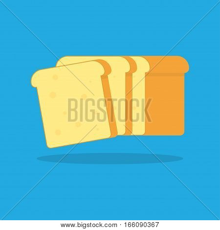 Toast bread. Bakery icon. Vector Illustration on the blue background.