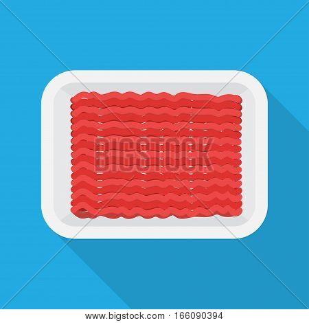 Raw Minced meat in the package. Vector Illustration on the white background.