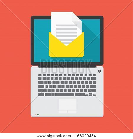 laptop with open email message on the screen. Vector illustration in flat design style