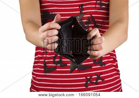 empty purse in women's hands on a white background