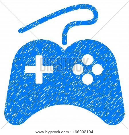 Gamepad grainy textured icon for overlay watermark stamps. Flat symbol with dirty texture. Dotted vector blue ink rubber seal stamp with grunge design on a white background. poster