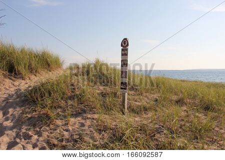 Sign posted in Sleeping Bear Dunes National Lakeshore, Michigan