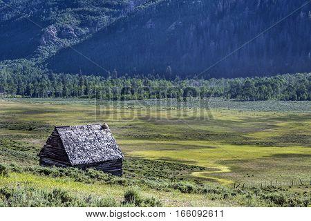 Abandoned settler cabin in Joes Valley near Orangeville Utah
