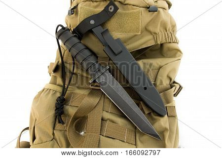 Tactical knife with a case. Military. Combat Black