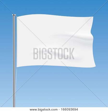 Vector flag on a blue sky background. White horizontal flag template. Realistic flag mockup.