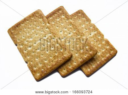 Delicious rectangular cookies isolated on white background