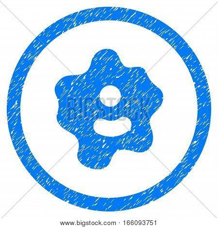 Rounded Ameba rubber seal stamp watermark. Icon symbol inside circle with grunge design and unclean texture. Unclean vector blue sign.
