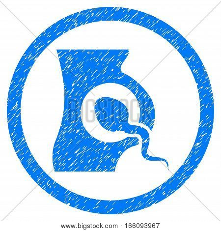 Rounded Artificial Insemination rubber seal stamp watermark. Icon symbol inside circle with grunge design and scratched texture. Unclean vector blue emblem.