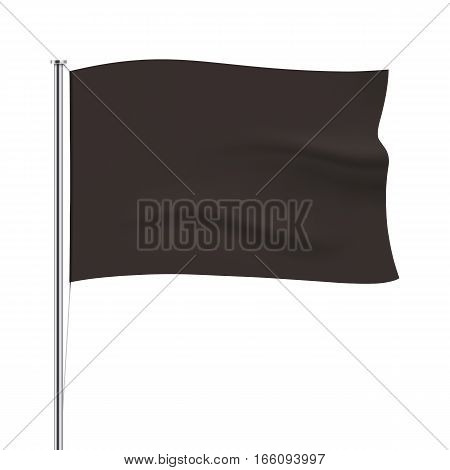 Black vector horizontal flag isolated on white background. Black waving flag template. Realistic flag mockup.