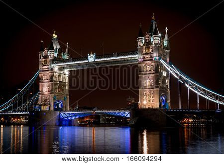 London tower bridge at night long exposure