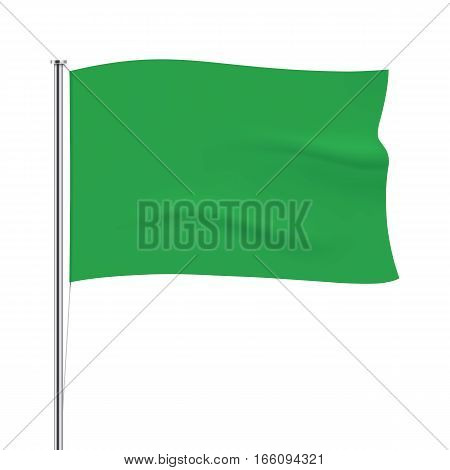 Green vector flag isolated on background. Horizontal flag template. Realistic flag mockup.