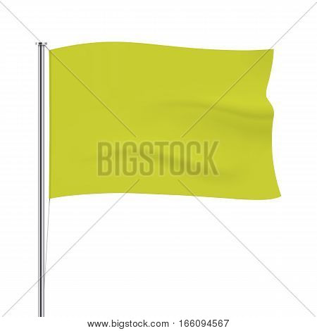 Yellow vector flag isolated on background. Horizontal flag template. Realistic flag mockup.