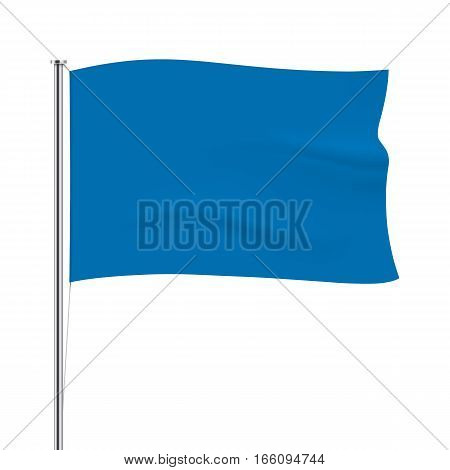 Blue vector flag isolated on background. Horizontal flag template. Realistic flag mockup.